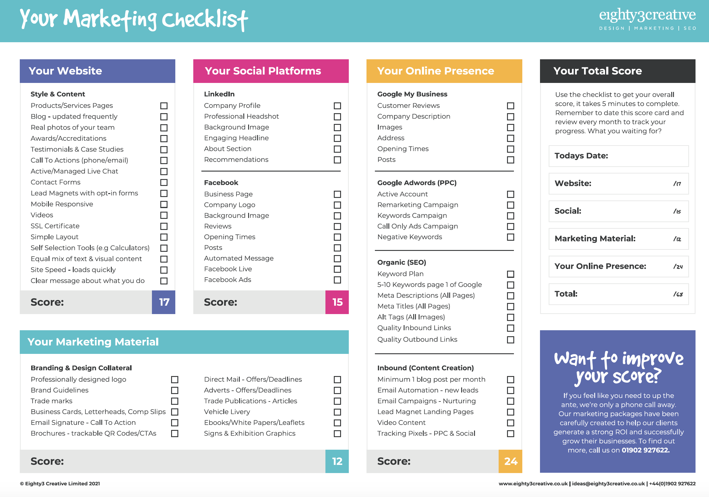 Marketing Checklist - eighty3creative